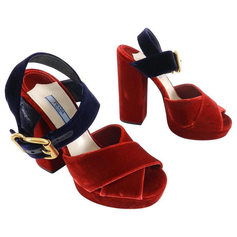 4f278b1fa1f Prada Red Velvet and Navy Criss Cross Platform Sandal at 1stdibs