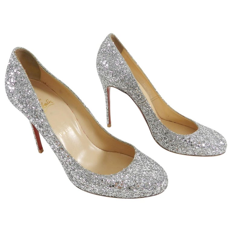 8532a684f656 Christian Louboutin Silver Sparkle Glitter Fifille 110 Pumps Heels For Sale
