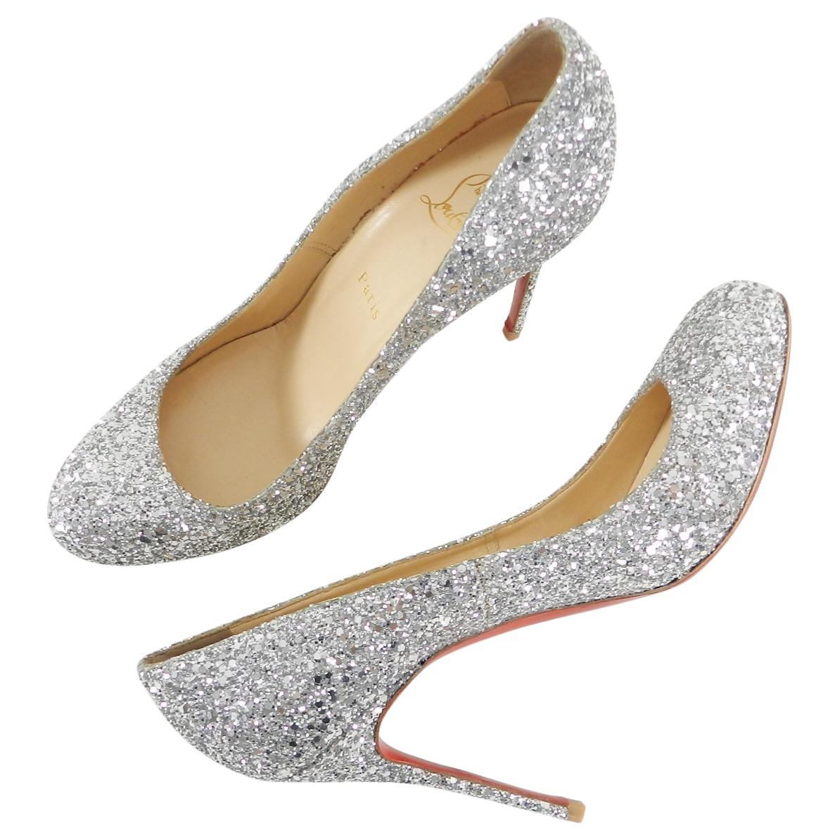 buy online a2659 aead6 110 Sparkle Pumps Glitter Christian Louboutin Heels Silver ...
