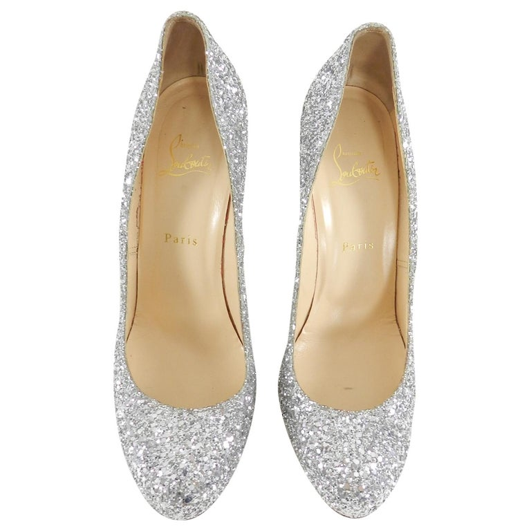 ca82e726ba4 Brown Christian Louboutin Silver Sparkle Glitter Fifille 110 Pumps Heels  For Sale