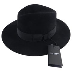 Saint Laurent Black Felt Fedora Wide Brim Hat, Fall 2016
