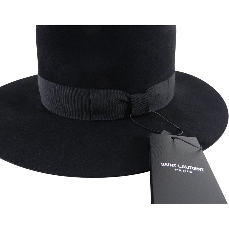 Saint Laurent Black Felt Fedora Wide Brim Hat 2a059742e342