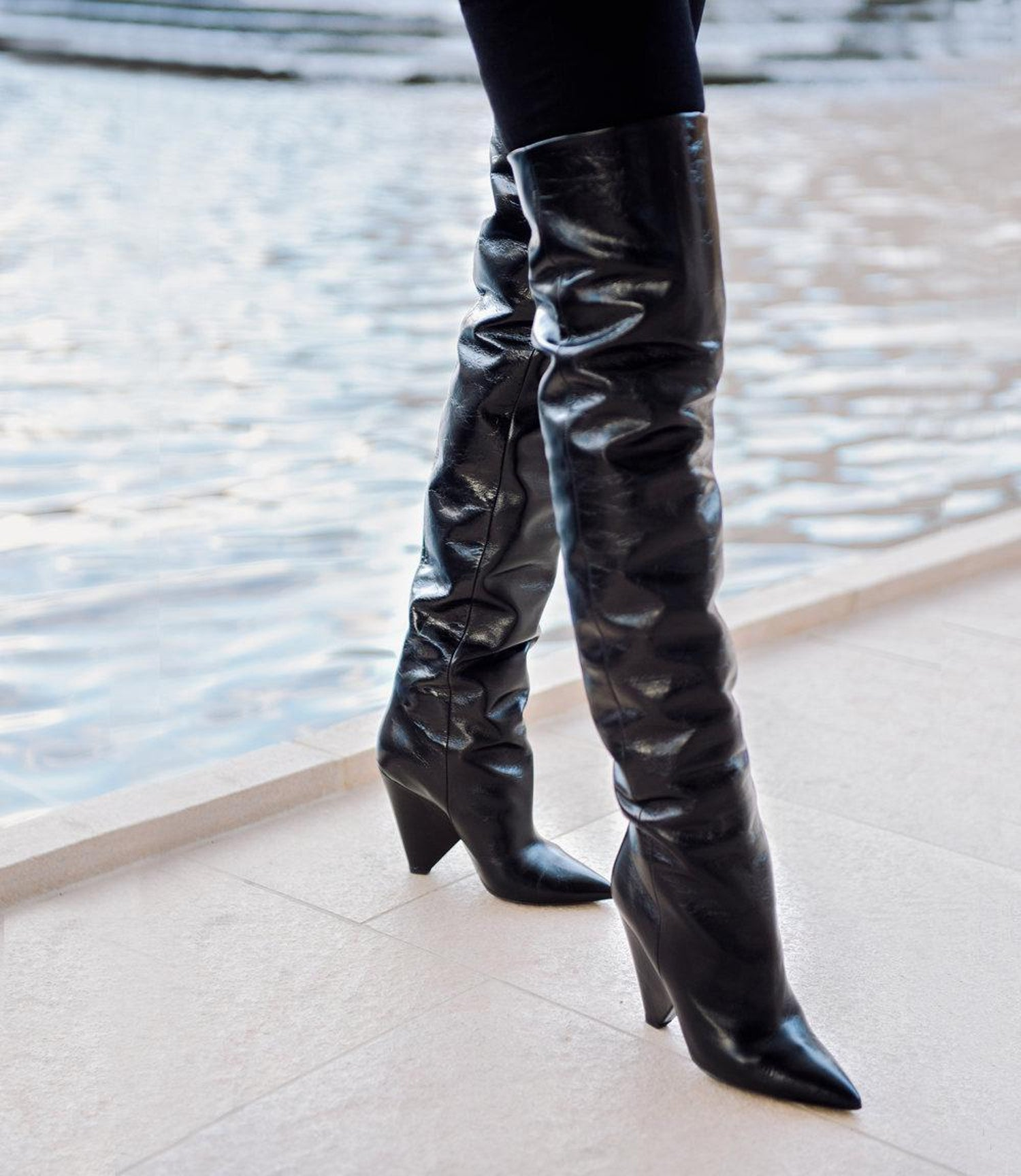 19a4ebbcf6f Saint Laurent Glossed Leather Black Over the Knee Niki Boots at 1stdibs
