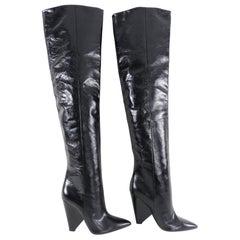 Saint Laurent Glossed Leather Black Over the Knee Niki Boots