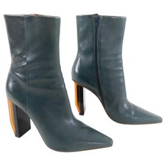 Vetements Blue Leather Reflector Ankle Boots
