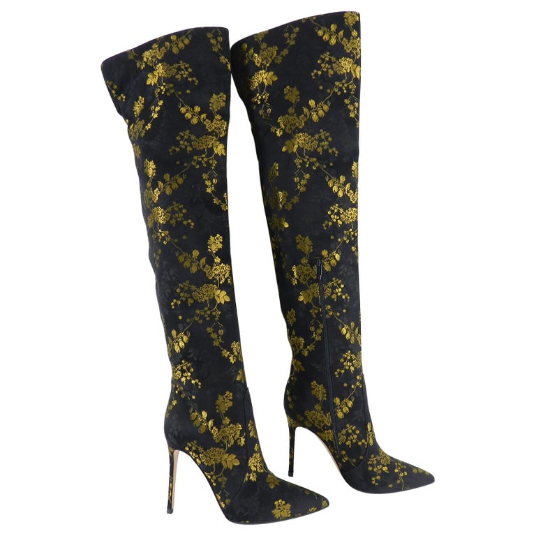 Gianvito Rossi Yellow Floral Over the Knee Brocade Boots