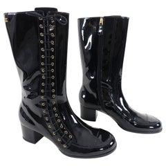 Chanel Salzburg Black Patent Lace Up Midi Boots, Pre-Fall 2015