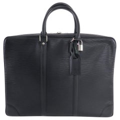 Louis Vuitton Black Epi Porte Documents Voyage Laptop Bag
