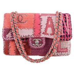 Chanel Pink Tweed Patchwork Coco Chanel Jumbo Flap Bag