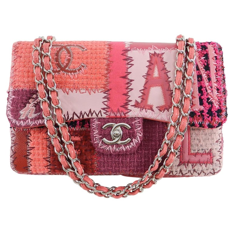 Chanel Pink Tweed Patchwork Coco Jumbo Flap Bag For