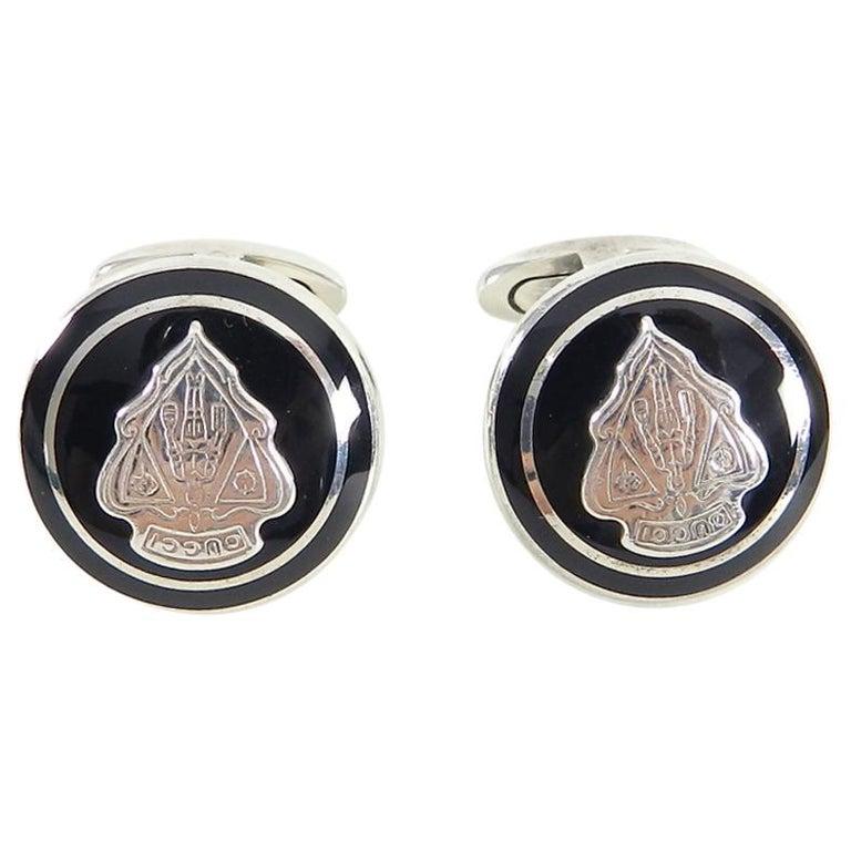 Gucci Sterling Silver Black Enamel Crest Cufflinks For Sale