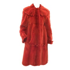 Vintage Adolfo Birger Christensen Orange Sheared Mink Fur Coat - 10