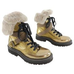 Brunello Cucinelli Gold Shearling Combat Boots - 37