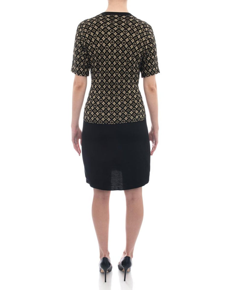 Women's Louis Vuitton Monogram Logo Black and Yellow Knit Sweater Dress - L For Sale