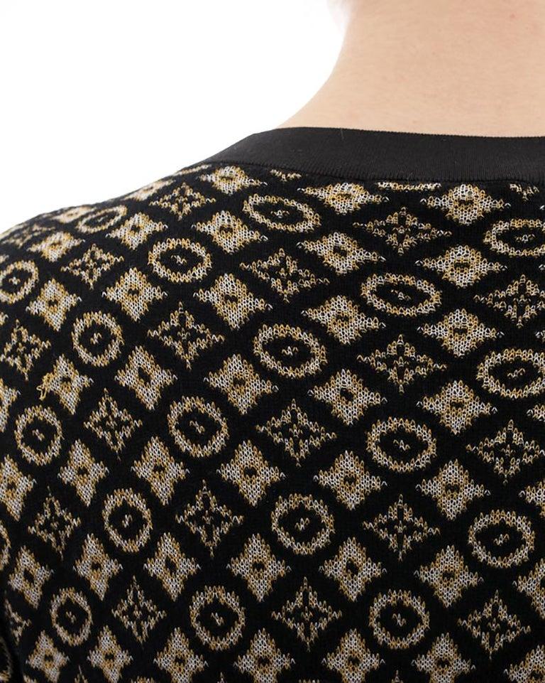 Louis Vuitton Monogram Logo Black and Yellow Knit Sweater Dress - L For Sale 1