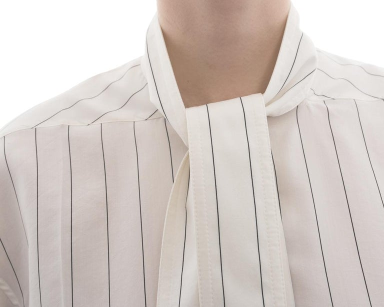 2734f86ead900 Celine Off White Cotton Pinstripe Shirt Dress - M For Sale 1