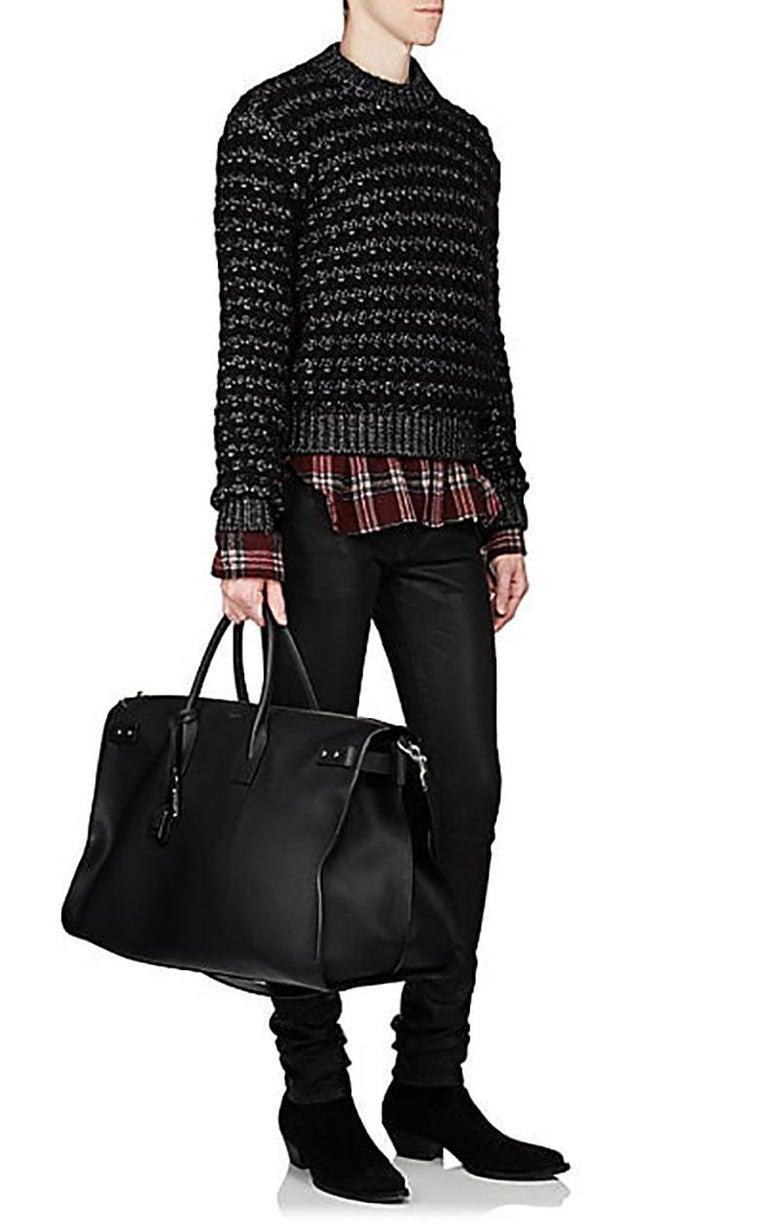 4cb3a107080 Saint Laurent Black Leather Sac de Jour 48H Large Duffle Bag In Excellent  Condition For Sale