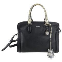 Alexander McQueen Black and Snake Print Small Skull Padlock Bag