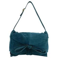 Valentino Dark Green Teal Suede Ribbon Shoulder Bag