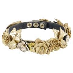 Chanel, 18 Karat Gold, Leder, Floral, CC Choker-Halskette