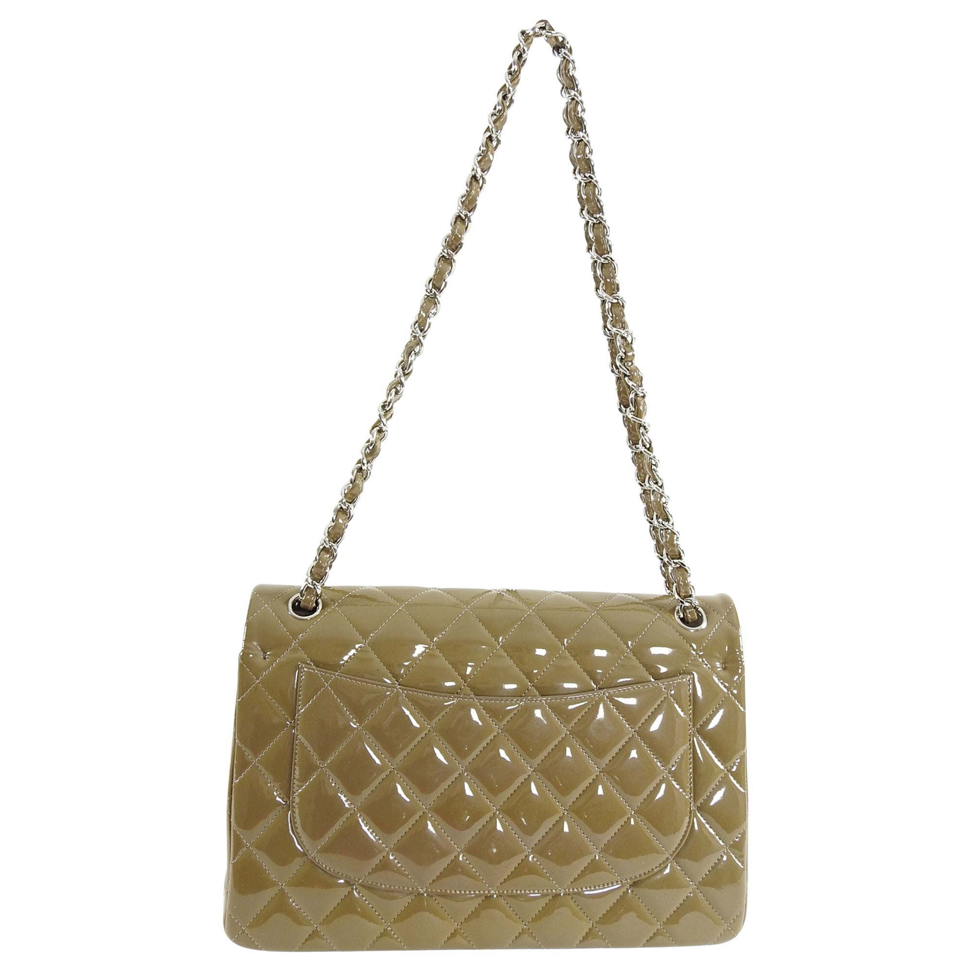 f58162e122d8 Chanel Gris Fonce Patent Leather Quilt Jumbo Double Flap Bag Silver  Hardware at 1stdibs