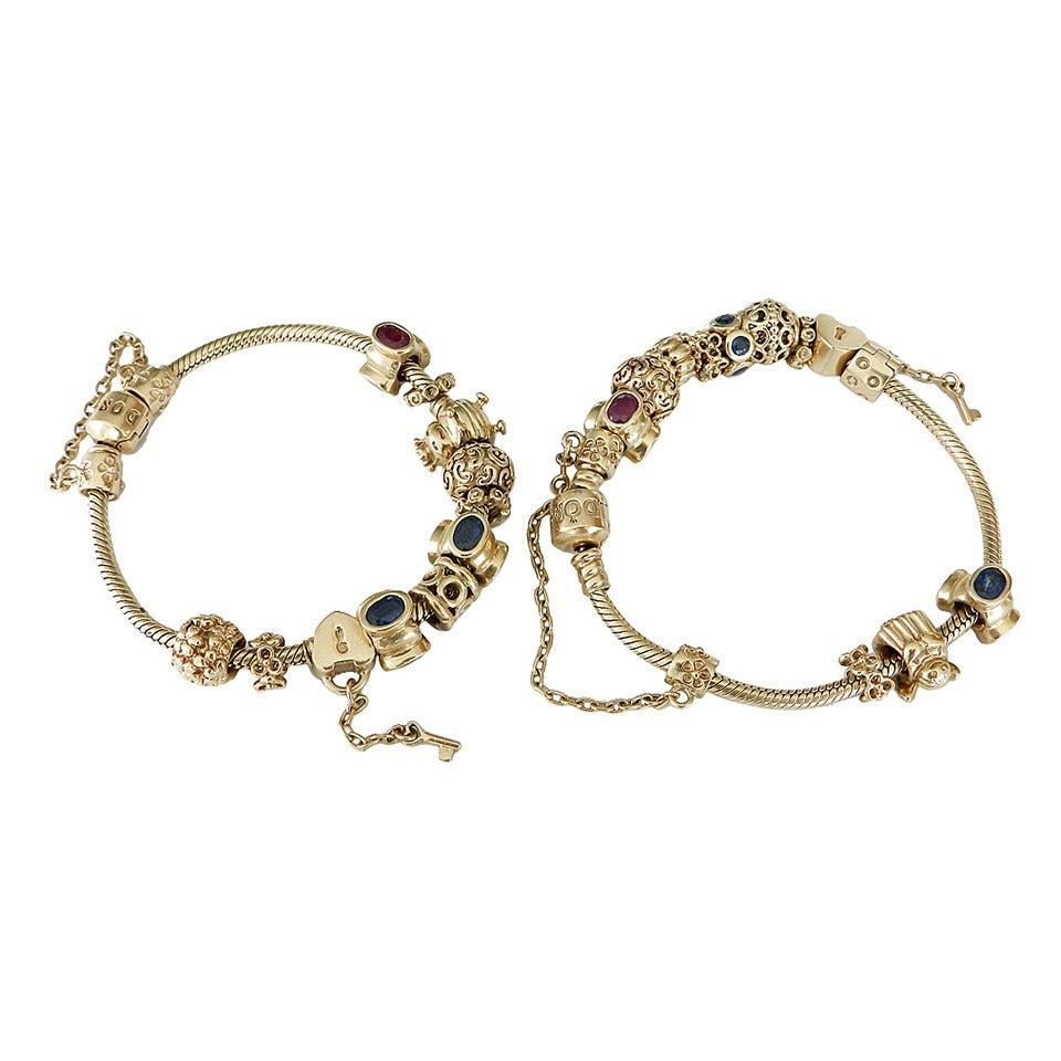 pandora gold charm bracelets at 1stdibs