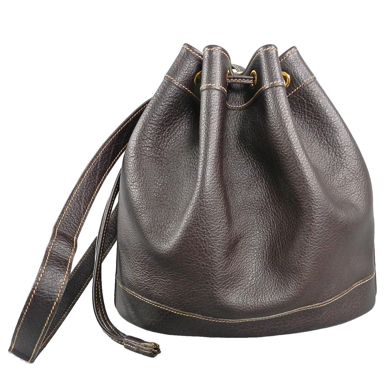 Hermes Vintage 1999 Dark Brown Leather Market Bucket Bag at 1stdibs