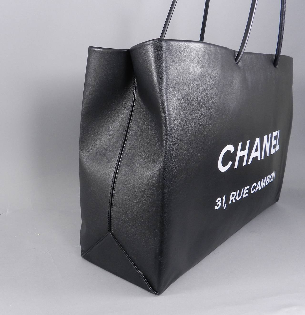 cd97832a3f94 Women's Chanel 09P Runway Black Rue Cambon Leather Shopping Bag Tote For  Sale