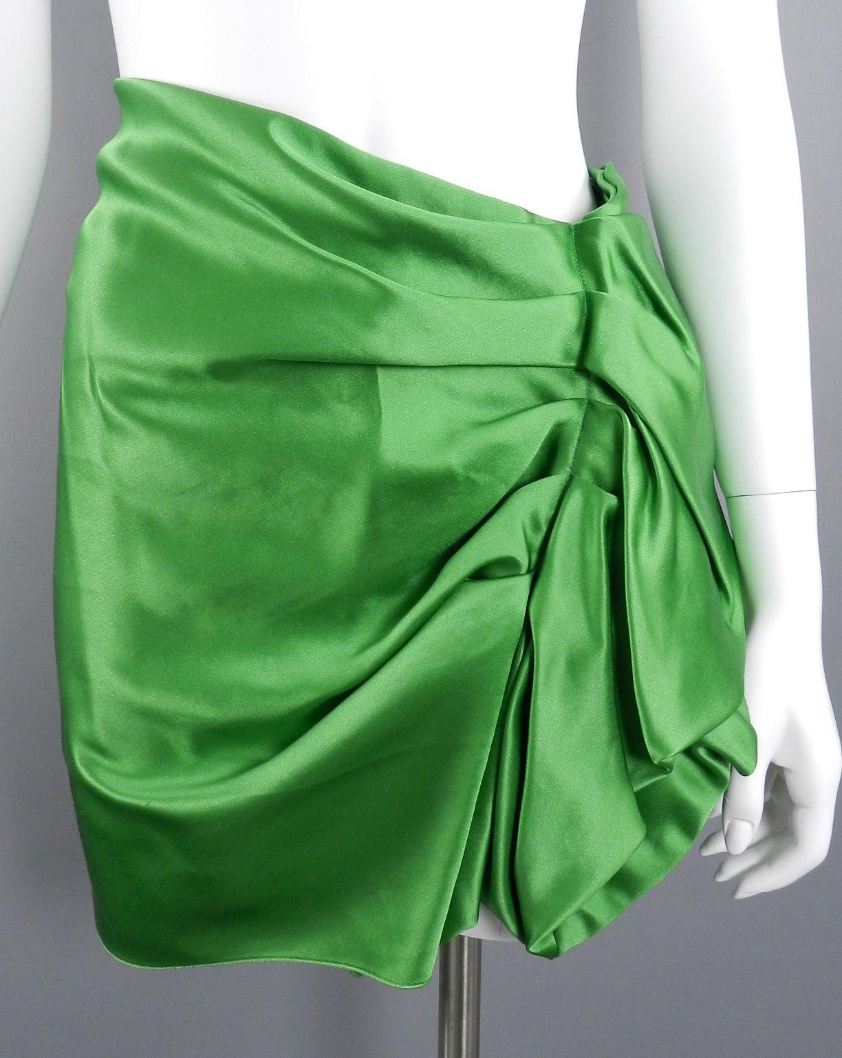 Lanvin 2009 Spring Runway Green Silk skirt 3