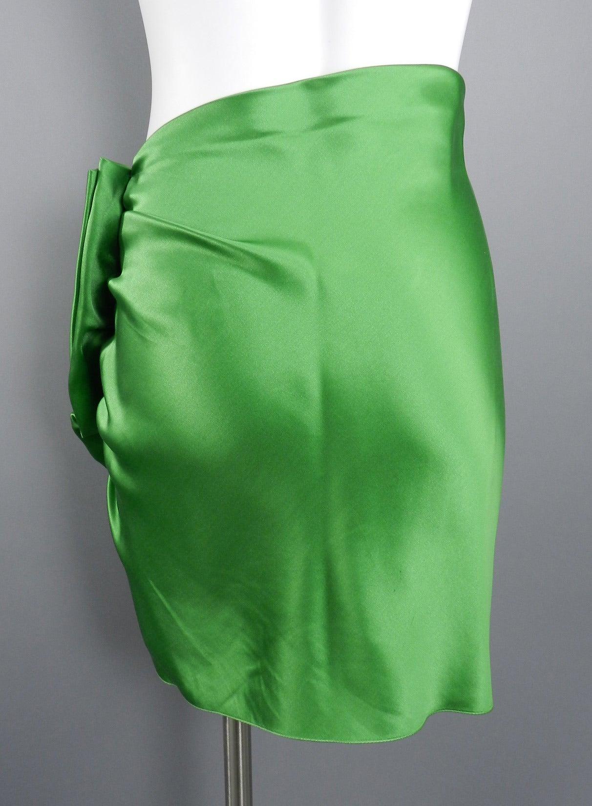 Lanvin 2009 Spring Runway Green Silk skirt 5