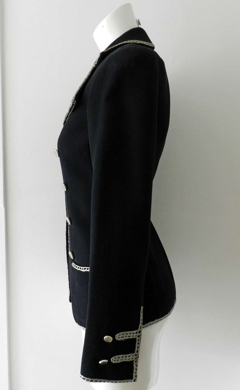 Chanel 06P Runway Black Jacket w Silver Embroidery 4