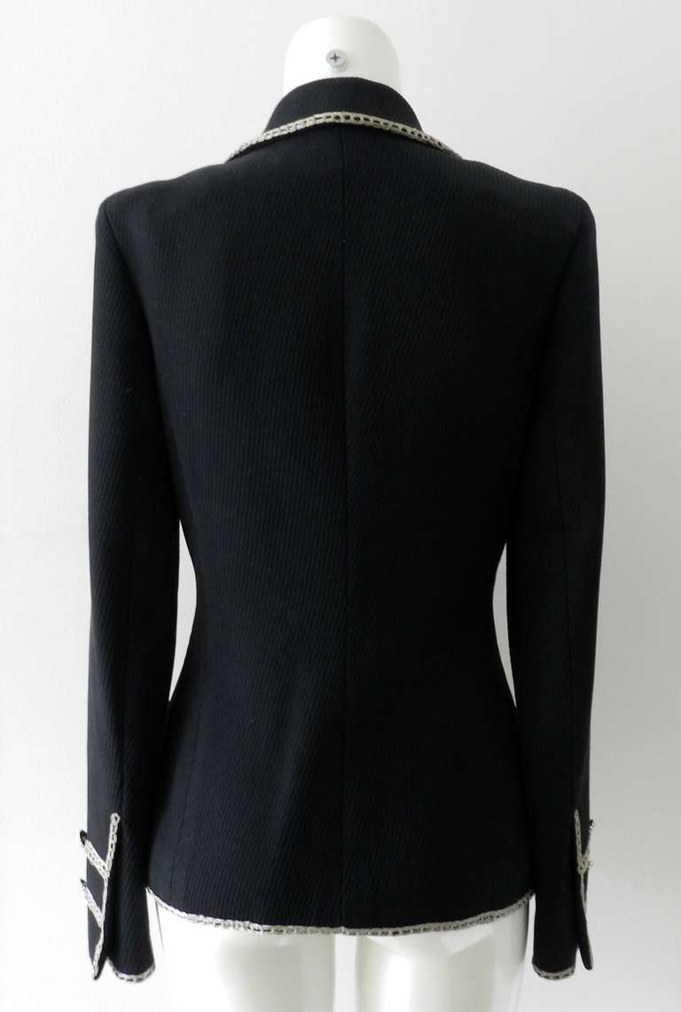 Chanel 06P Runway Black Jacket w Silver Embroidery 8