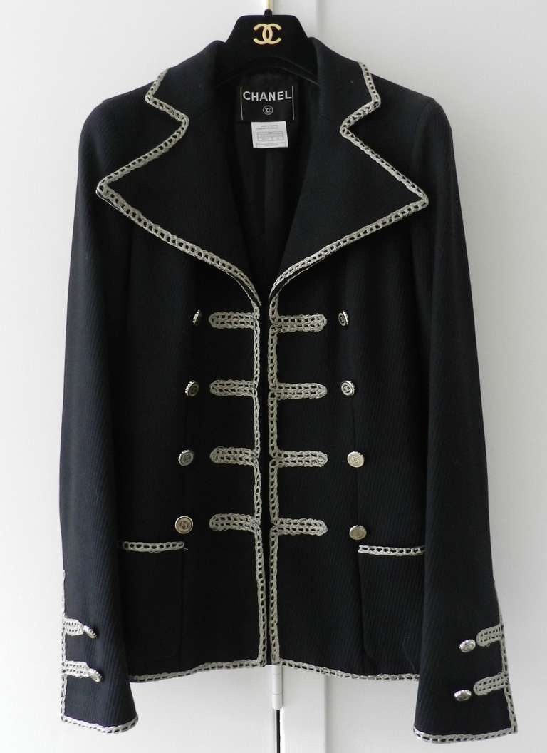 Chanel 06P Runway Black Jacket w Silver Embroidery 5