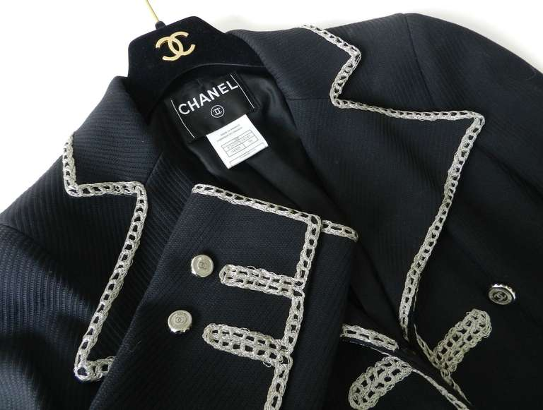 Chanel 06P Runway Black Jacket w Silver Embroidery 6