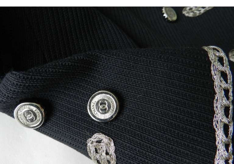 Chanel 06P Runway Black Jacket w Silver Embroidery 7