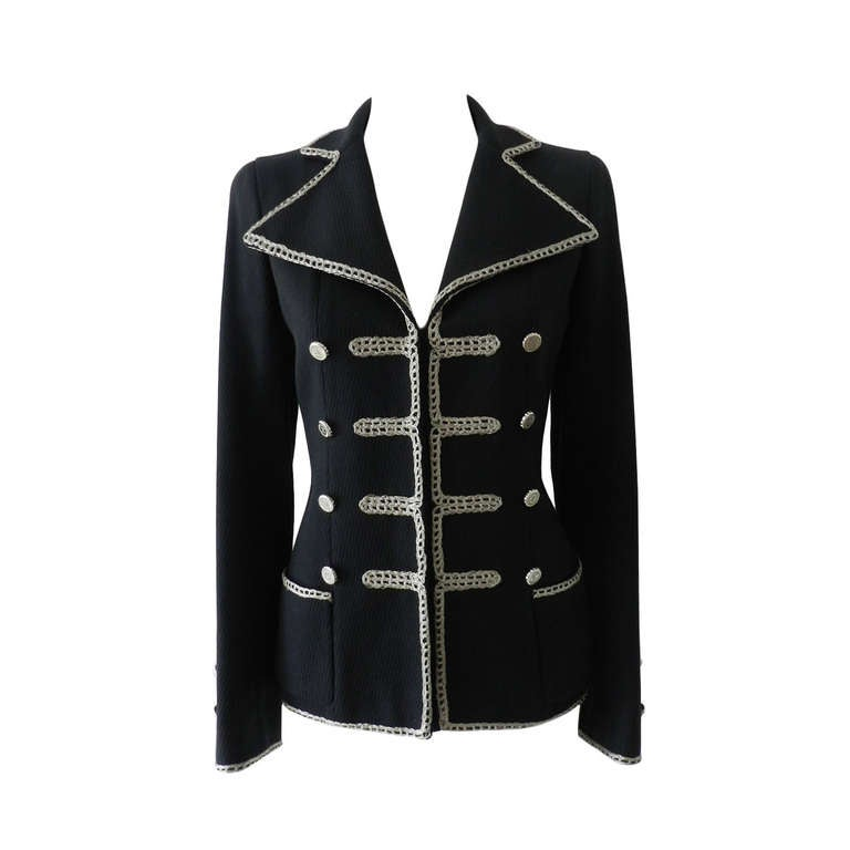 Chanel 06P Runway Black Jacket w Silver Embroidery 1
