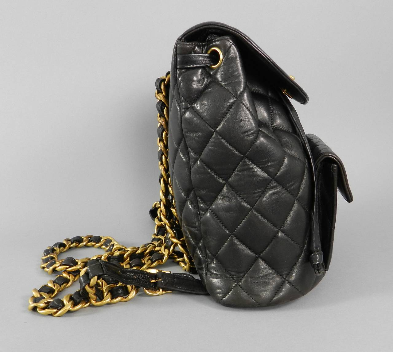 a2511872383f Chanel vintage 1996 black quilted soft lambskin leather backpack with gold  hardware. In excellent previously