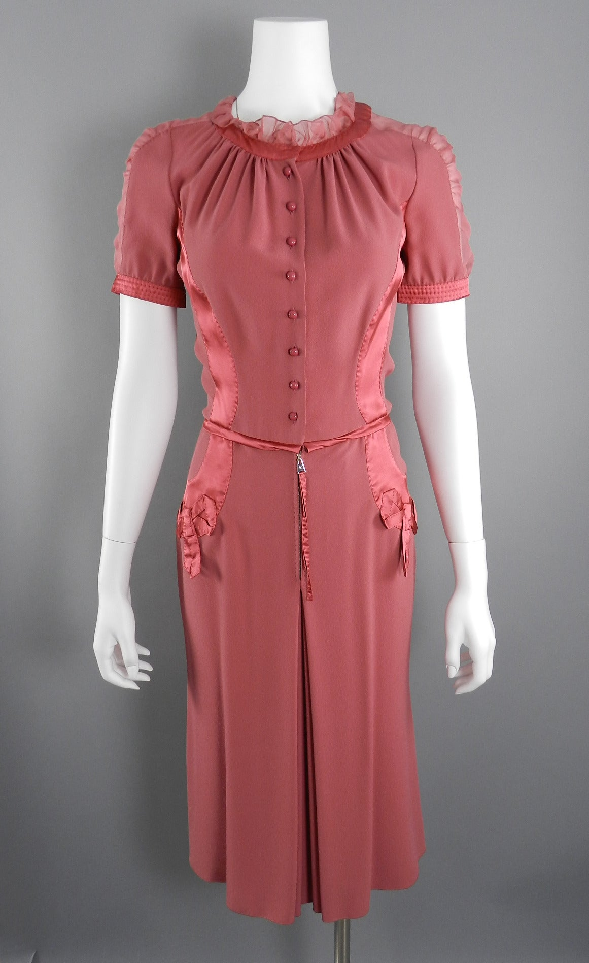 Louis Vuitton Rose Color 1930's Vintage Style Dress 9