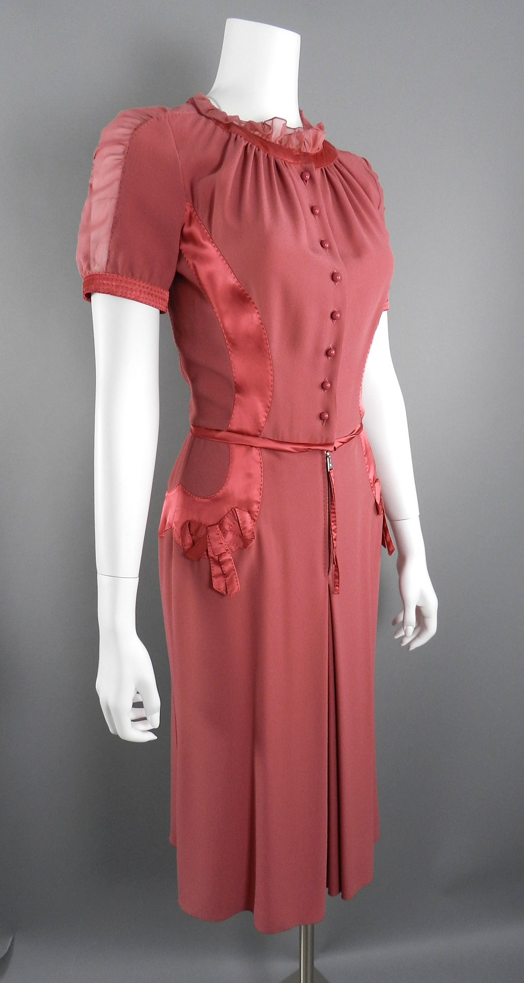 Louis Vuitton Rose Color 1930's Vintage Style Dress 2