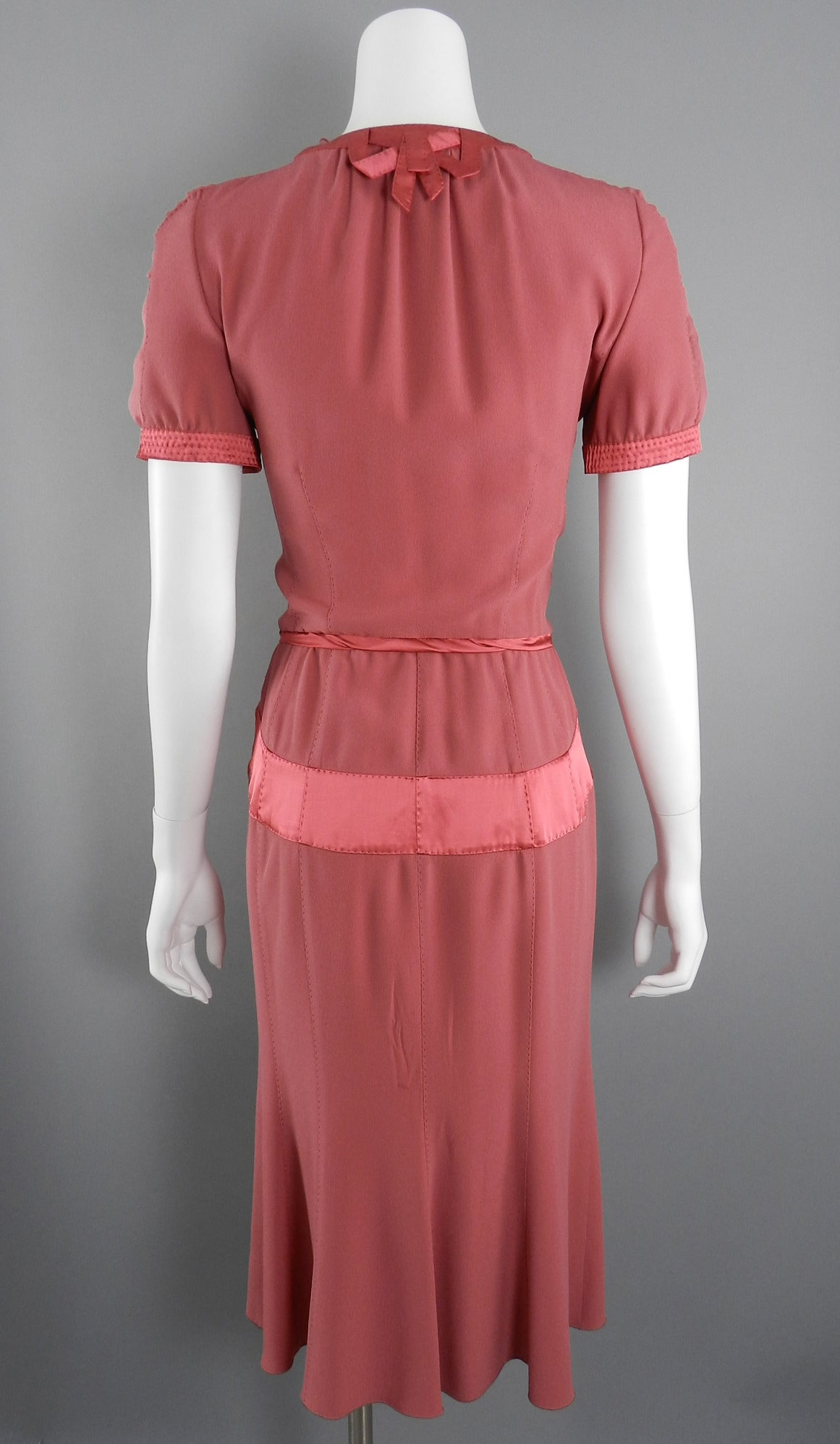 Louis Vuitton Rose Color 1930's Vintage Style Dress 4