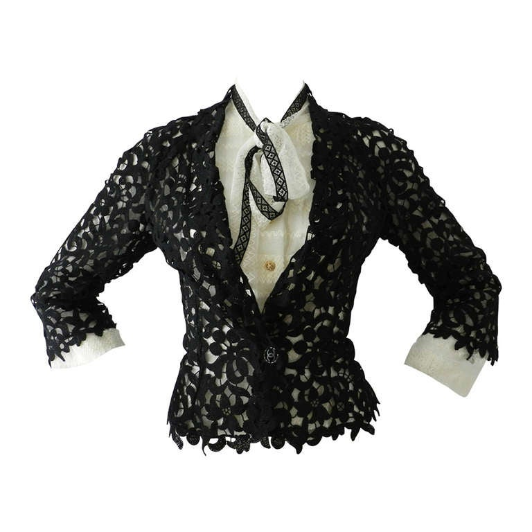 Chanel 08P Black Lace Jacket and Sheer White Blouse Set For Sale