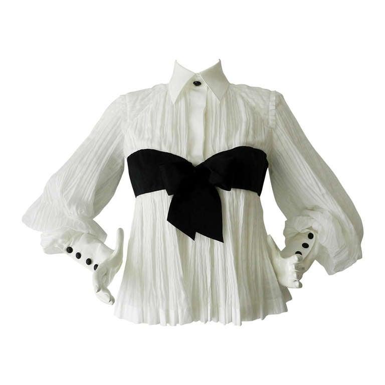 Chanel 09P White Pleated Blouse w Black Silk Ribbon 1