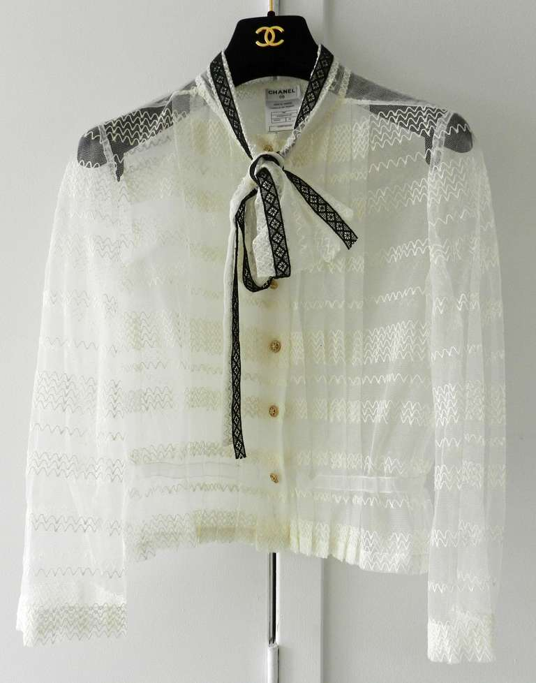 Chanel 08P Black Lace Jacket and Sheer White Blouse Set In Excellent Condition For Sale In Toronto, CA
