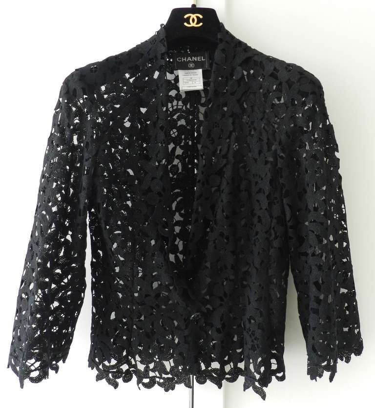 Women's Chanel 08P Black Lace Jacket and Sheer White Blouse Set For Sale
