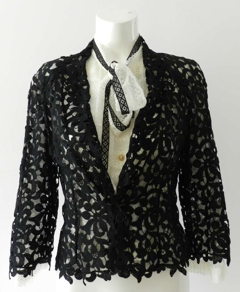 Chanel 08P Black Lace Jacket and Sheer White Blouse Set For Sale 1