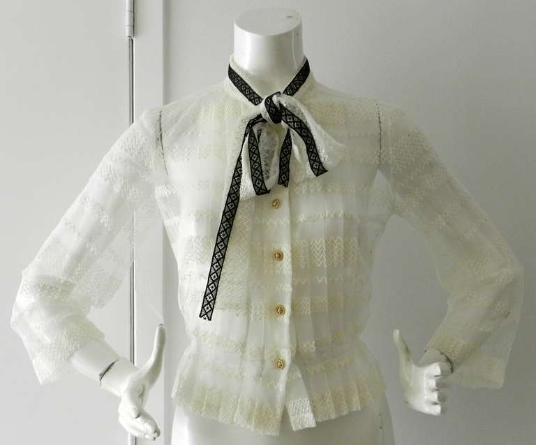 Chanel 08P Black Lace Jacket and Sheer White Blouse Set 6