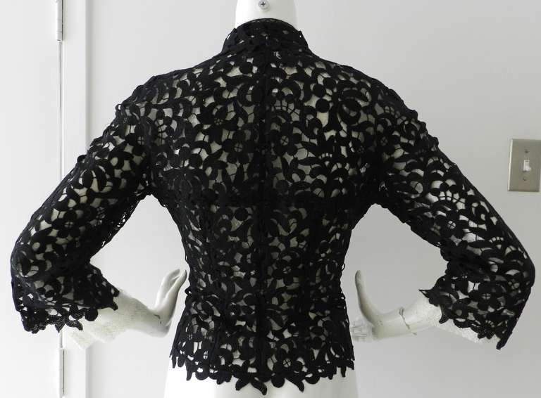 Chanel 08P Black Lace Jacket and Sheer White Blouse Set For Sale 3