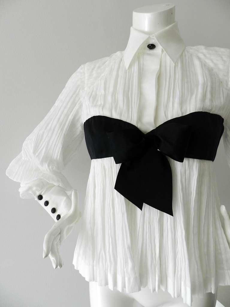 Chanel 09P White Pleated Blouse w Black Silk Ribbon 3