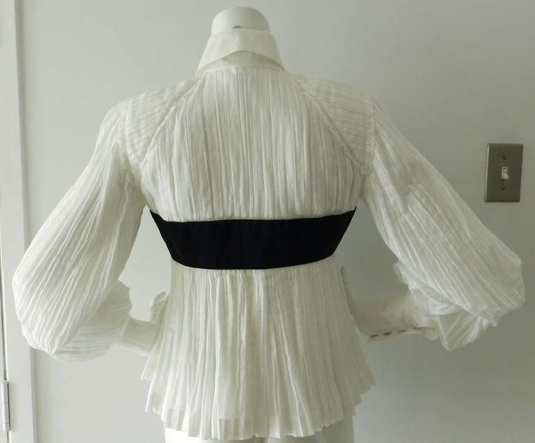 Chanel 09P White Pleated Blouse w Black Silk Ribbon 6