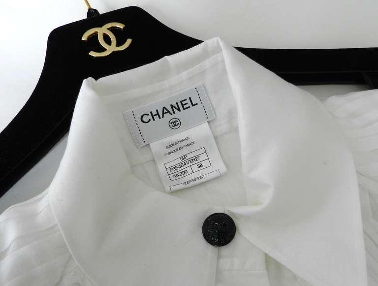 Chanel 09P White Pleated Blouse w Black Silk Ribbon 7